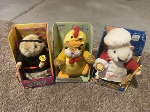 Gemmy Dancing Hamster LOT x 3 - Kung Fu, Luigi, Bunny