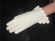 Vintage 1940's Ivory 100% Cotton Fancy Gloves