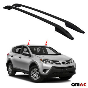 Top Roof Rack Side Rails Bars Black Set For Toyota RAV4 2013-2018