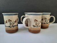 Vintage 4 Stoneware Horse Mugs Farm Barn Americana Cowboy Ranch Western Unique