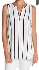 DR2 by Daniel Rainn Zig Zag Tank sz L white black stripes sleeveless blouse top
