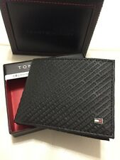 TOMMY HILFIGER Men's Black Leather Wallet RFID Protection Retail $ 48