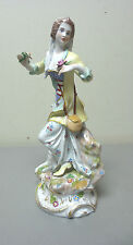 """BEAUTIFUL ANTIQUE DRESDEN SAXONYPORCELAIN 10.25"""" LADY FIGURINE with LAMB"""