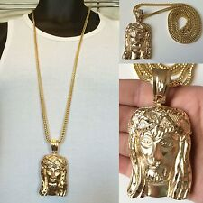 "MENS HIP HOP 14K GOLD PLATED JESUS FACE PENDANT W/ 36"" FRANCO CHAIN NECKLACE"