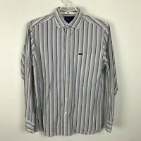 Faconnable Dress Shirt Size M Club Deauville White Blue Brown Striped Mens