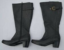 95366921d65 NEW Naturalizer  5 Comfort Wide Shaft Block Heel Leather Black Boots Size  8M-W8