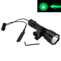 Tactical 5000Lm Green Light LED Flashlight Torch Light Hunting Gun Rifle Lamp
