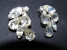 weiss large clear rhinestone clip on earrings