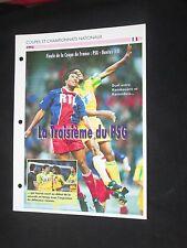 PSG PARIS ST GERMAIN FC NANTES 1993 FINALE COUPE FRANCE FICHE FOOT PASSION XL