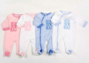 Baby Boy Girl Sleepsuit All In One White Pink Blue Hugs Babygrow 0-9 Months