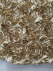 """80"""" Gold Platinum Round Rosette Tablecloth Table Cover Wedding Party Decor 3D"""