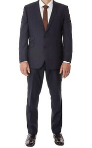 Mens Jeff Banks Suit Navy Blue Tailored Fit Wool Blend