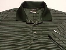 Nike Golf Dri-Fit Mens Large Short Sleeve Green Striped Athletic Polo Golf Shirt