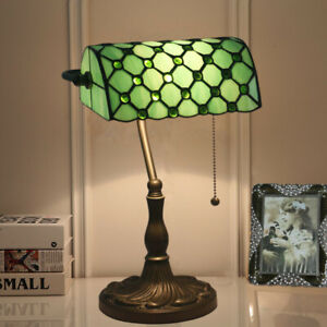 Retro Elegant Tiffany Style Stained Glass Bank Lamp Alloy Base Bedroom Lighting