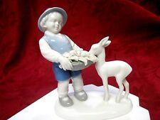 VINTAGE GEROLD TETTAU PORCELAIN PORZELLAN BOY FEEDING BABY DEER BAVARIA GERMANY
