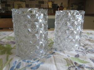 Pair Thick Heavy Cut Glass Crystal Light  Shades . 16cm High .