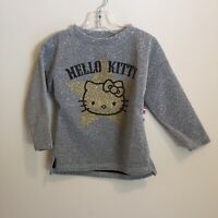 Hello Kitty Toddler Girls Long Sleeve Top Size 2T Gray Glitter New