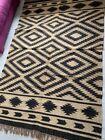 Rustic Kilim Rug Black Beige Indien Diamond Natural Jute Wool mix 160x240cm 5x8