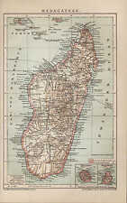 Landkarte map 1898 MADAGASKAR. Afrika Réunion Mauritius Comoren Africa Mosambik