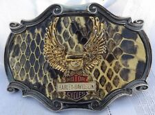 Vtg Raintree 1978 Harley Davidson 75th Anniv Belt Buckle Eagle Snakeskin Design