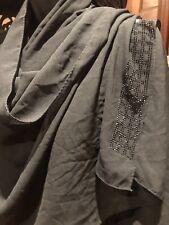 Vintage Black Silky Sari Shawl Wrap