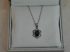 """Beautiful Delicate 15.5"""" Marked Sterling Silver & Onyx Necklace 1.76gr"""