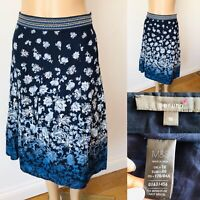 Ladies PER UNA Skirt Size 16 Navy Blue/White Ombre Flare Cotton M&S Immaculate