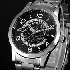 Luxury Men's Black Dial Automatic Mechanical Date Stainless Steel Wrist Watch