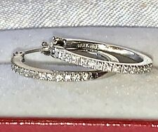 Estate 14K White Gold Micro Pave Diamond Hoop Earrings, 2.8 Grams - Elegant