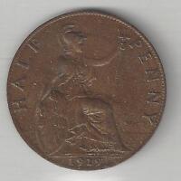 GREAT BRITAIN, 1919,  1/2 PENNY, BRONZE,  KM#809,  EXTRA FINE