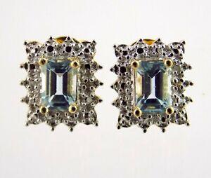 Ross Simons Gold Plated Sterling Silver Blue Topaz Diamond Acc Stud Earrings 925
