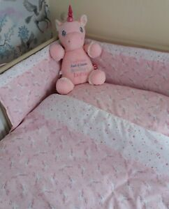Beautiful unicorn cot bed quilt, pillowcase and 30cm lampshade