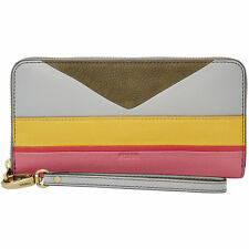 NEW FOSSIL EMMA CORRAL PINK+YELLOW+GRAY STRIPE LEATHER,ZIP AROUND,CLUTCH WALLET