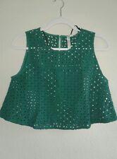etikett Juniors Green Sleeveless Crop Top Size M