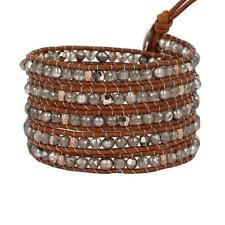 New Auth Chan Luu Taupe Mix Five Wrap Bracelet on Natural Brown Leather