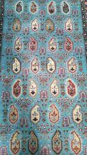 Breathtaking Turquoise Cr1930-1940s Antique 3x11ft Wool Pile Hereke Runner Rug