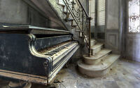 Large Framed Print - Rundown Old Piano in a Depreciated Building (Picture Poster