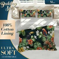 Parrot Leaves Floral Green Quilt Cover Set Single Double Queen King Size