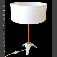 GORGEOUS! MID CENTURY MODERN EDELSTEIN PORCELAIN TRIPOD LAMP! 50S 60S ATOMIC VTG