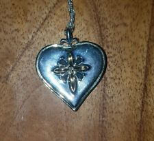 BGE STERLING SILVER DIAMOND AND SAPPHIRES DAUGHTER HEART PENDANT NECKLACE