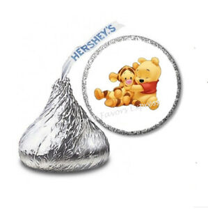 108 BABY POOH AND TIGGER Birthday Party Favors Stickers Labels for Hershey Kiss