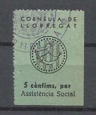 9027-SELLO LOCAL ESPAÑA GUERRA CIVIL CORNELLA DE LLOBREGAT ASISTENCIA SOCIAL BAR