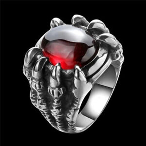 Punk Vintage Men Retro Dragon Claw Rings Male Crystal Finger Ring Jewelry Gifts