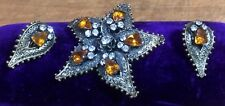 Art Deco Brooch Set Clip On Earrings Rhinestone Star Shape Holiday Gift Idea