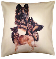 More details for belgian tervuren group cotton cushion cover - cream or white cover - gift item