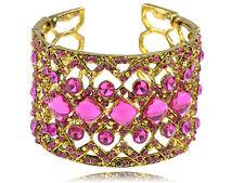 Flirty Bright Fuchsia Crystal Rhinestone Vogue Statement Bracelet Bangle Cuff