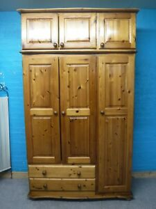 CHUNKY SOLID WOOD 3DOOR 2DRAWER TRIPLE WARDROBE + TOPBOX- VISIT OUR WAREHOUSE