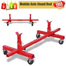 Mobile Axle Stand Car Van Caravan Vehicle Garage Tool Adjustable 4 Wheels Red UK