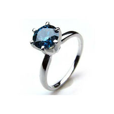 Solitaire 0.60Ct Certified Real Round Cut Blue Color Diamond Ring 14k White Gold