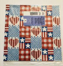 Vintage Ambassador Hallmark Hearts Stars Patriotic Gift Wrapping Paper New
